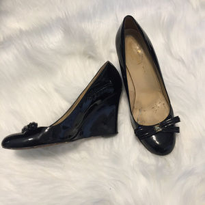 Kate Spade 6 Black Bow Shiny Leather Wedges